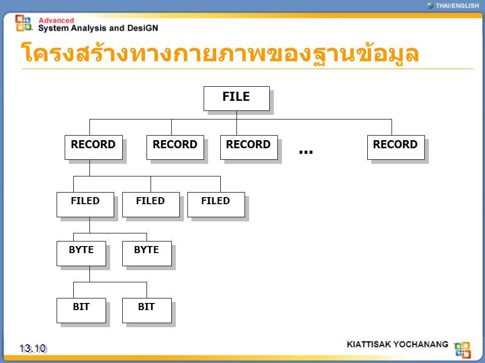 โครงสร้างทางกายภาพของฐานข้อมูล 13.10 FILE RECORD FILED BYTE BIT...