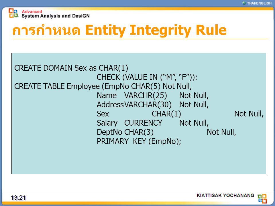 """การกำหนด Entity Integrity Rule 13.21 CREATE DOMAIN Sex as CHAR(1) CHECK (VALUE IN (""""M"""", """"F"""")): CREATE TABLE Employee (EmpNo CHAR(5) Not Null, NameVARC"""