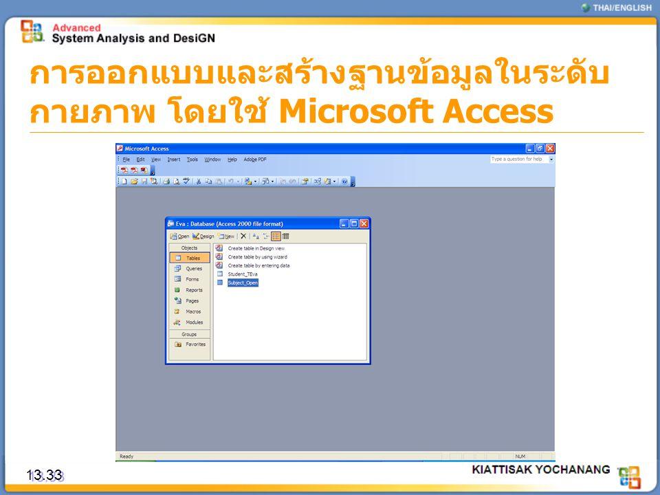 การออกแบบและสร้างฐานข้อมูลในระดับ กายภาพ โดยใช้ Microsoft Access 13.33