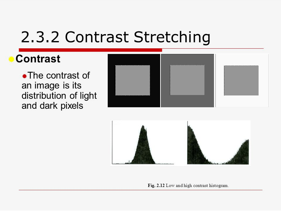 2.3.2 Contrast Stretching  Contrast  The contrast of an image is its distribution of light and dark pixels Fig. 2.12 Low and high contrast histogram