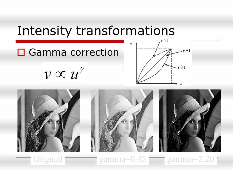 Intensity transformations  Gamma correction Originalgamma=0.45gamma=2.20