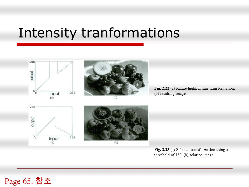 Intensity tranformations Page 65.참조 Fig.