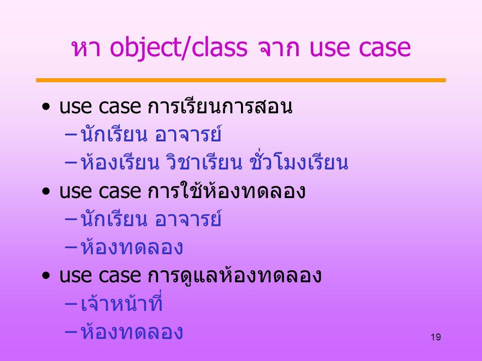 19 หา object/class จาก use case use case การเรียนการสอน –นักเรียน อาจารย์ –ห้องเรียน วิชาเรียน ชั่วโมงเรียน use case การใช้ห้องทดลอง –นักเรียน อาจารย์ –ห้องทดลอง use case การดูแลห้องทดลอง –เจ้าหน้าที่ –ห้องทดลอง