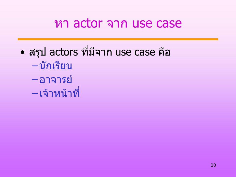 20 หา actor จาก use case สรุป actors ที่มีจาก use case คือ –นักเรียน –อาจารย์ –เจ้าหน้าที่