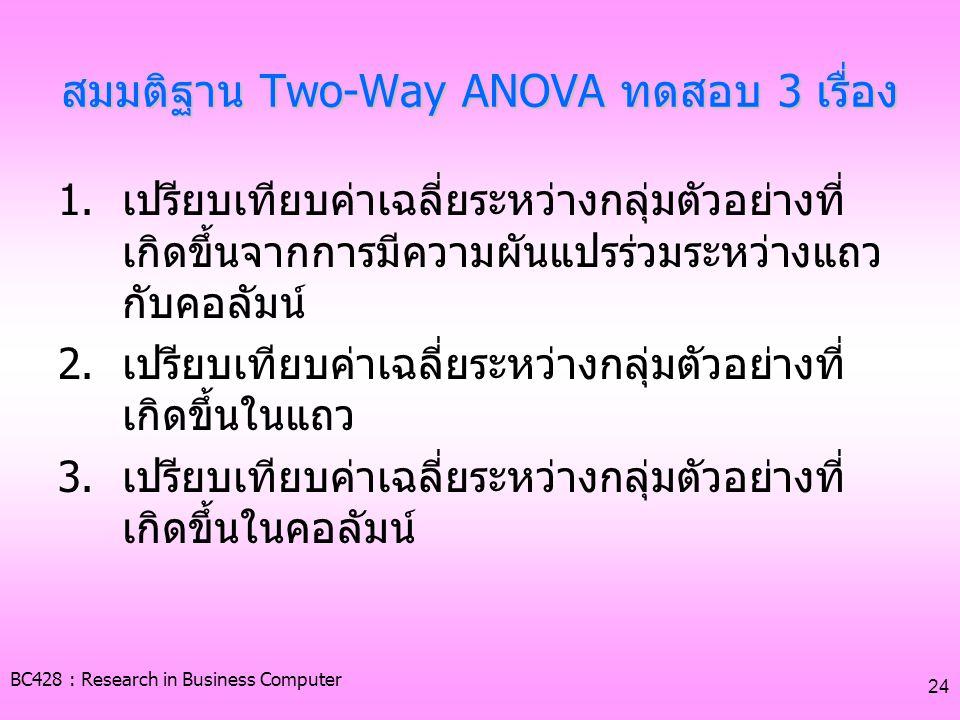 BC428 : Research in Business Computer 24 สมมติฐาน Two-Way ANOVA ทดสอบ 3 เรื่อง 1.