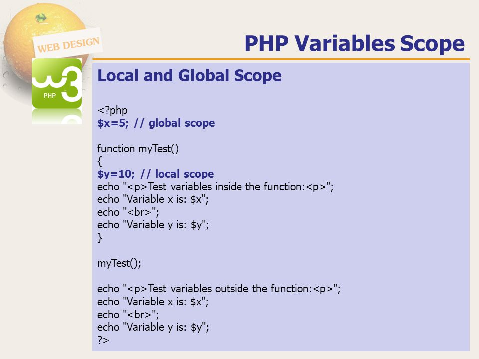 Local and Global Scope Test variables inside the function: