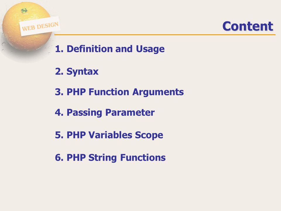 Passing by reference <?php function swap(&$x,&$y) // จะใช้เครื่องหมาย & { $temp=$x; $x=$y; $y=temp; } $x=10;$y=20; echo x=$x .