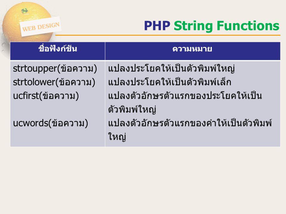 PHP String Functions ชื่อฟังก์ชันความหมาย strtoupper( ข้อความ ) strtolower( ข้อความ ) ucfirst( ข้อความ ) ucwords( ข้อความ ) แปลงประโยคให้เป็นตัวพิมพ์ใ