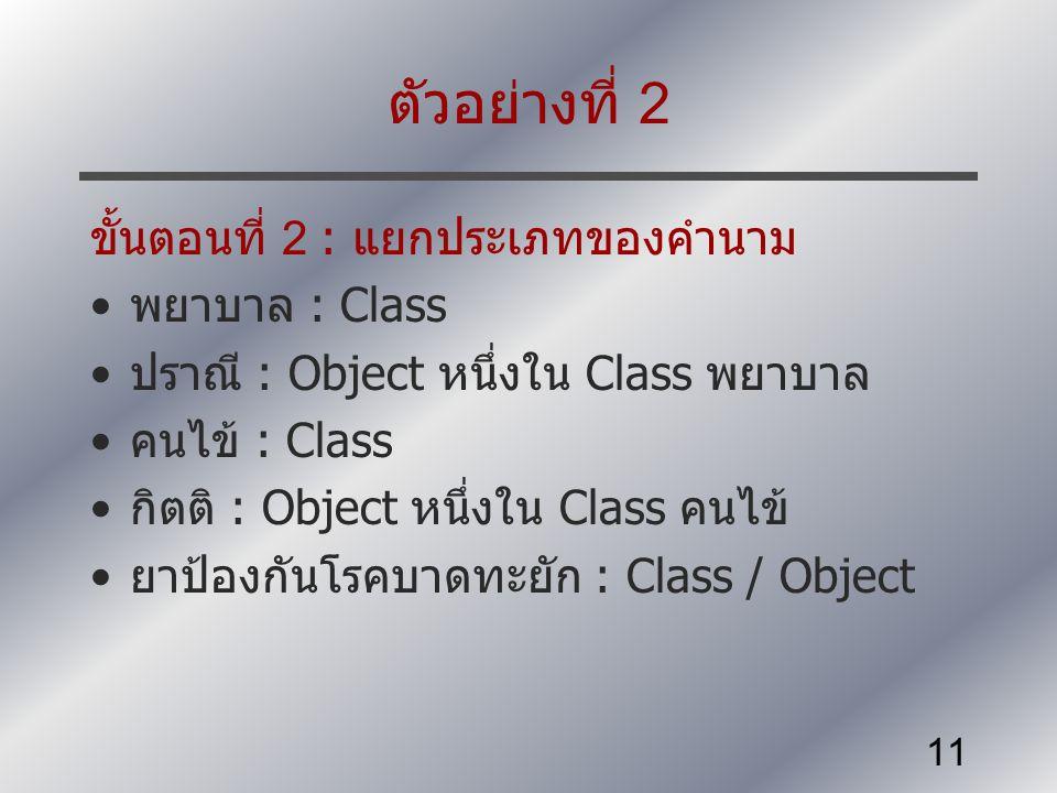 11 ตัวอย่างที่ 2 ขั้นตอนที่ 2 : แยกประเภทของคำนาม พยาบาล : Class ปราณี : Object หนึ่งใน Class พยาบาล คนไข้ : Class กิตติ : Object หนึ่งใน Class คนไข้