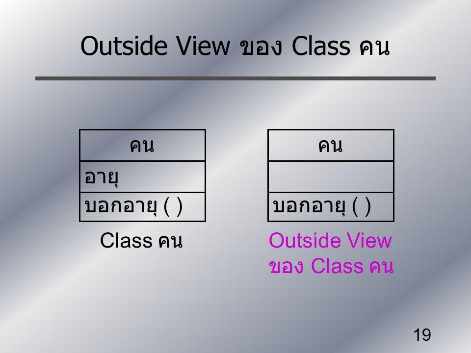 19 Outside View ของ Class คน คน อายุ บอกอายุ ( ) Class คน คน บอกอายุ ( ) Outside View ของ Class คน