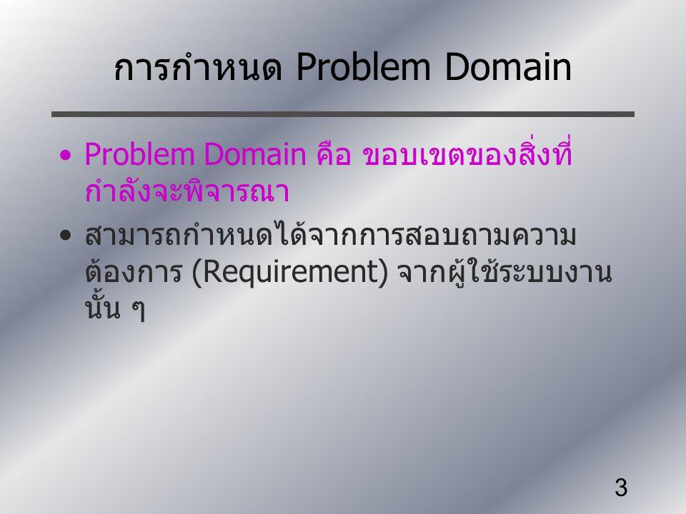 3 การกำหนด Problem Domain Problem Domain คือ ขอบเขตของสิ่งที่ กำลังจะพิจารณา สามารถกำหนดได้จากการสอบถามความ ต้องการ (Requirement) จากผู้ใช้ระบบงาน นั้