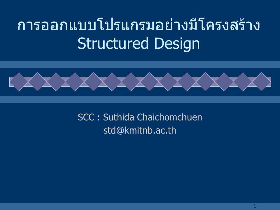 1 การออกแบบโปรแกรมอย่างมีโครงสร้าง Structured Design SCC : Suthida Chaichomchuen std@kmitnb.ac.th