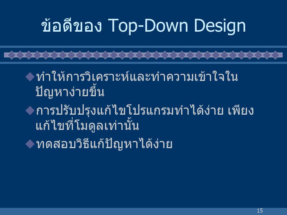 15 ข้อดีของ Top-Down Design  ทำให้การวิเคราะห์และทำความเข้าใจใน ปัญหาง่ายขึ้น  การปรับปรุงแก้ไขโปรแกรมทำได้ง่าย เพียง แก้ไขที่โมดูลเท่านั้น  ทดสอบว