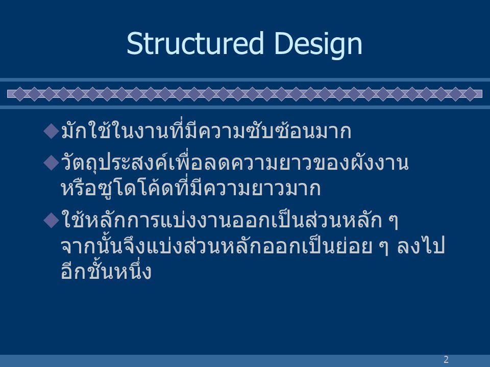 2 Structured Design  มักใช้ในงานที่มีความซับซ้อนมาก  วัตถุประสงค์เพื่อลดความยาวของผังงาน หรือซูโดโค้ดที่มีความยาวมาก  ใช้หลักการแบ่งงานออกเป็นส่วนห