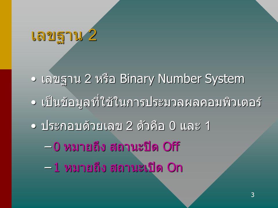 3 เลขฐาน 2 เลขฐาน 2 หรือ Binary Number Systemเลขฐาน 2 หรือ Binary Number System เป็นข้อมูลที่ใช้ในการประมวลผลคอมพิวเตอร์เป็นข้อมูลที่ใช้ในการประมวลผลค