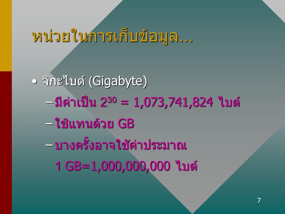 7 หน่วยในการเก็บข้อมูล... จิกะไบต์ (Gigabyte)จิกะไบต์ (Gigabyte) –มีค่าเป็น 2 30 = 1,073,741,824 ไบต์ –ใช้แทนด้วย GB –บางครั้งอาจใชัค่าประมาณ 1 GB=1,0