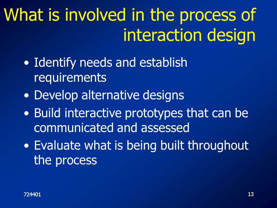72440113 What is involved in the process of interaction design Identify needs and establish requirements Develop alternative designs Build interactive