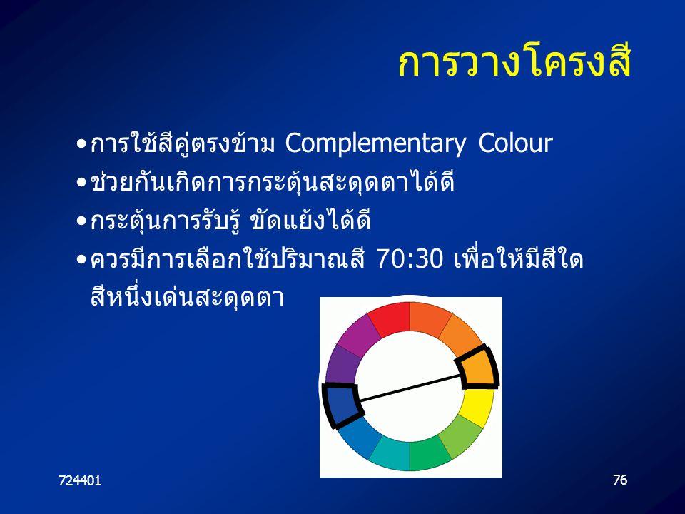 72440176 การวางโครงสี การใช้สีคู่ตรงข้าม Complementary Colour ช่วยกันเกิดการกระตุ้นสะดุดตาได้ดี กระตุ้นการรับรู้ ขัดแย้งได้ดี ควรมีการเลือกใช้ปริมาณสี