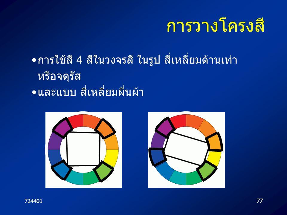 72440177 การวางโครงสี การใช้สี 4 สีในวงจรสี ในรูป สี่เหลี่ยมด้านเท่า หรือจตุรัส และแบบ สี่เหลี่ยมผื่นผ้า