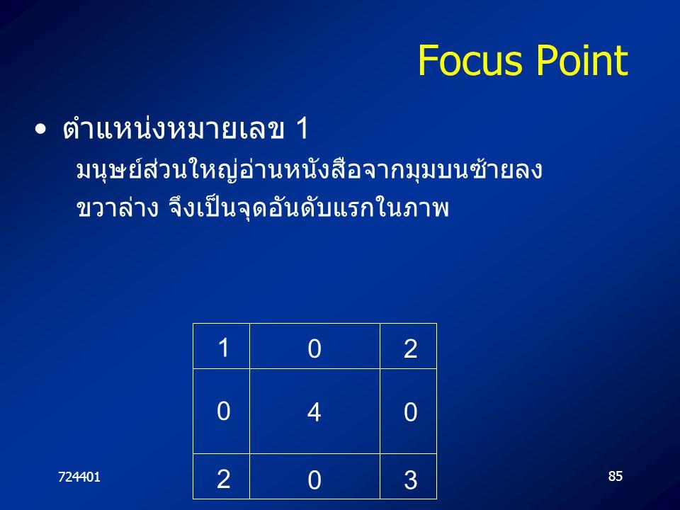 72440185 Focus Point ตำแหน่งหมายเลข 1 มนุษย์ส่วนใหญ่อ่านหนังสือจากมุมบนซ้ายลง ขวาล่าง จึงเป็นจุดอันดับแรกในภาพ 4 0 0 0 1 2 0 2 3