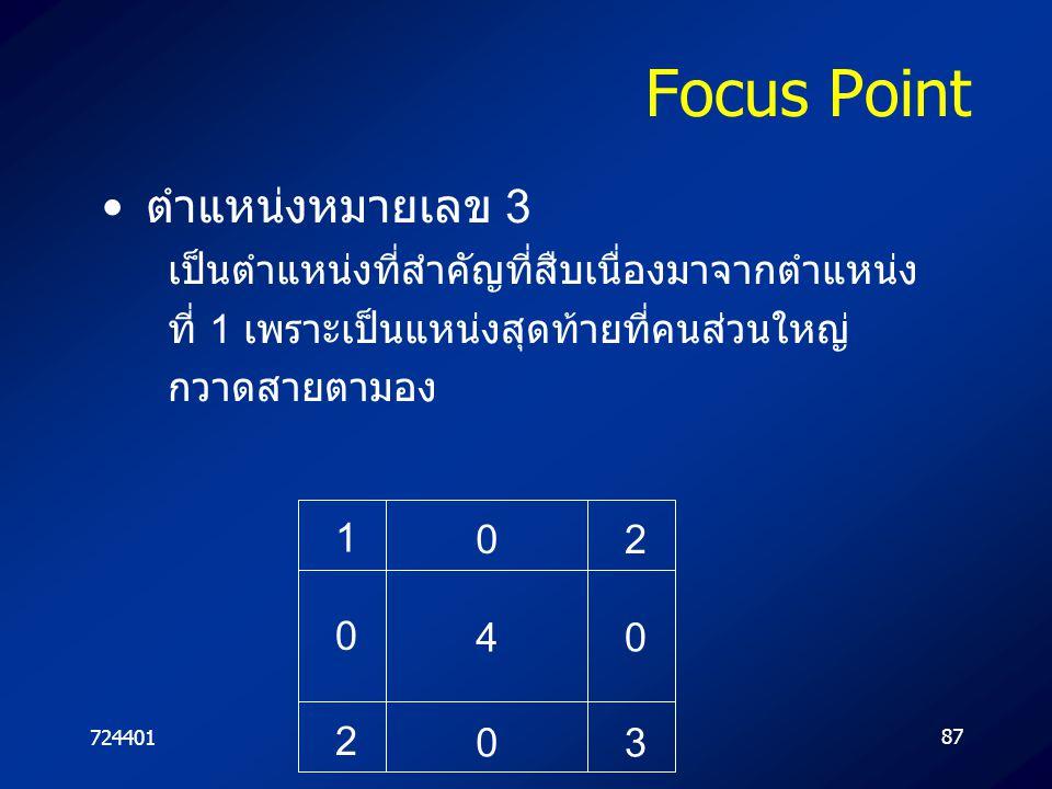 72440187 Focus Point ตำแหน่งหมายเลข 3 เป็นตำแหน่งที่สำคัญที่สืบเนื่องมาจากตำแหน่ง ที่ 1 เพราะเป็นแหน่งสุดท้ายที่คนส่วนใหญ่ กวาดสายตามอง 4 0 0 0 1 2 0