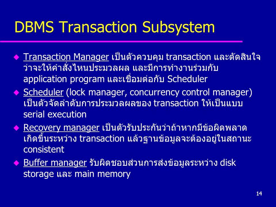 14 DBMS Transaction Subsystem u Transaction Manager เป็นตัวควบคุม transaction และตัดสินใจ ว่าจะให้คำสั่งไหนประมวลผล และมีการทำงานร่วมกับ application p