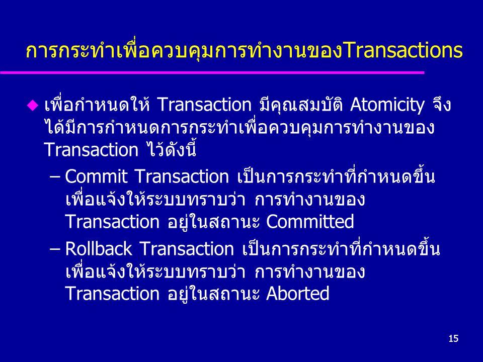 15 การกระทำเพื่อควบคุมการทำงานของTransactions u เพื่อกำหนดให้ Transaction มีคุณสมบัติ Atomicity จึง ได้มีการกำหนดการกระทำเพื่อควบคุมการทำงานของ Transa