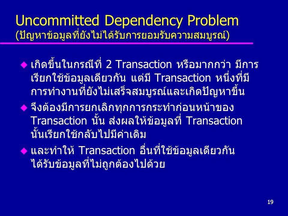 19 Uncommitted Dependency Problem (ปัญหาข้อมูลที่ยังไม่ได้รับการยอมรับความสมบูรณ์) u เกิดขึ้นในกรณีที่ 2 Transaction หรือมากกว่า มีการ เรียกใช้ข้อมูลเ