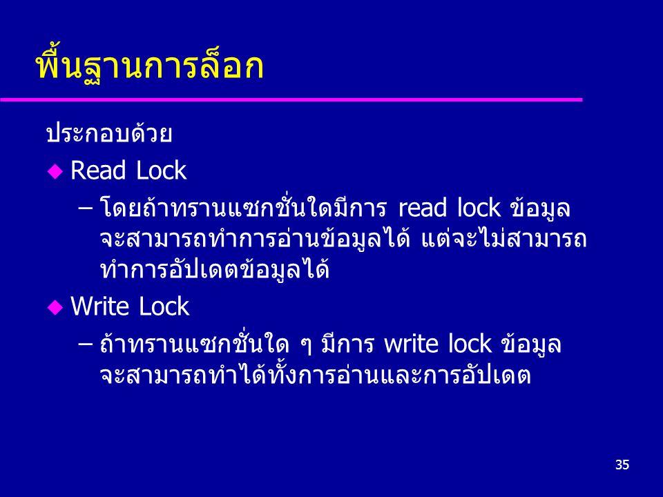 35 พื้นฐานการล็อก ประกอบด้วย u Read Lock –โดยถ้าทรานแซกชั่นใดมีการ read lock ข้อมูล จะสามารถทำการอ่านข้อมูลได้ แต่จะไม่สามารถ ทำการอัปเดตข้อมูลได้ u W