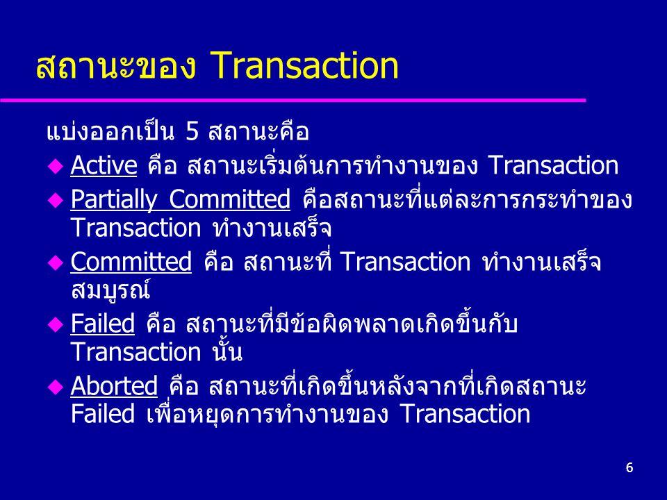 6 สถานะของ Transaction แบ่งออกเป็น 5 สถานะคือ u Active คือ สถานะเริ่มต้นการทำงานของ Transaction u Partially Committed คือสถานะที่แต่ละการกระทำของ Tran