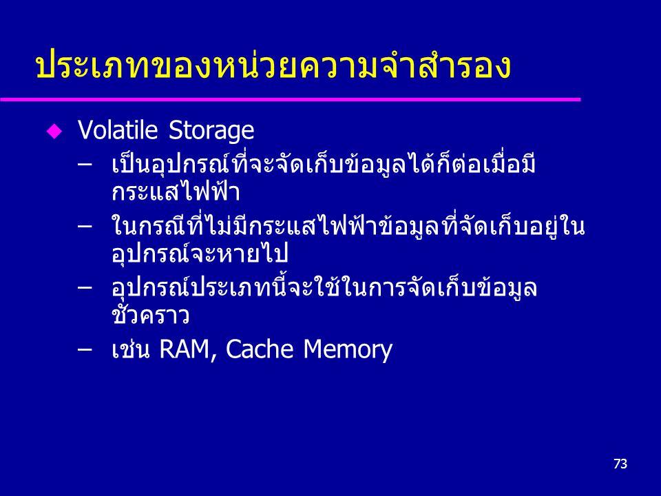 73 ประเภทของหน่วยความจำสำรอง u Volatile Storage –เป็นอุปกรณ์ที่จะจัดเก็บข้อมูลได้ก็ต่อเมื่อมี กระแสไฟฟ้า –ในกรณีที่ไม่มีกระแสไฟฟ้าข้อมูลที่จัดเก็บอยู่