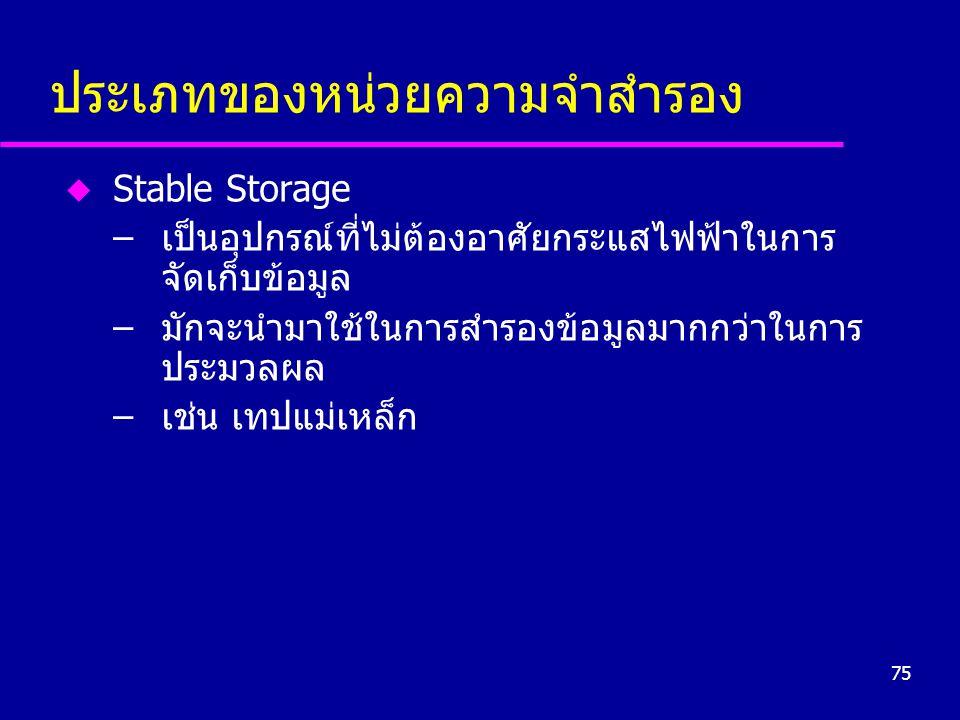 75 ประเภทของหน่วยความจำสำรอง u Stable Storage –เป็นอุปกรณ์ที่ไม่ต้องอาศัยกระแสไฟฟ้าในการ จัดเก็บข้อมูล –มักจะนำมาใช้ในการสำรองข้อมูลมากกว่าในการ ประมว