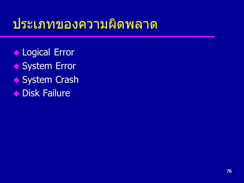 76 ประเภทของความผิดพลาด u Logical Error u System Error u System Crash u Disk Failure