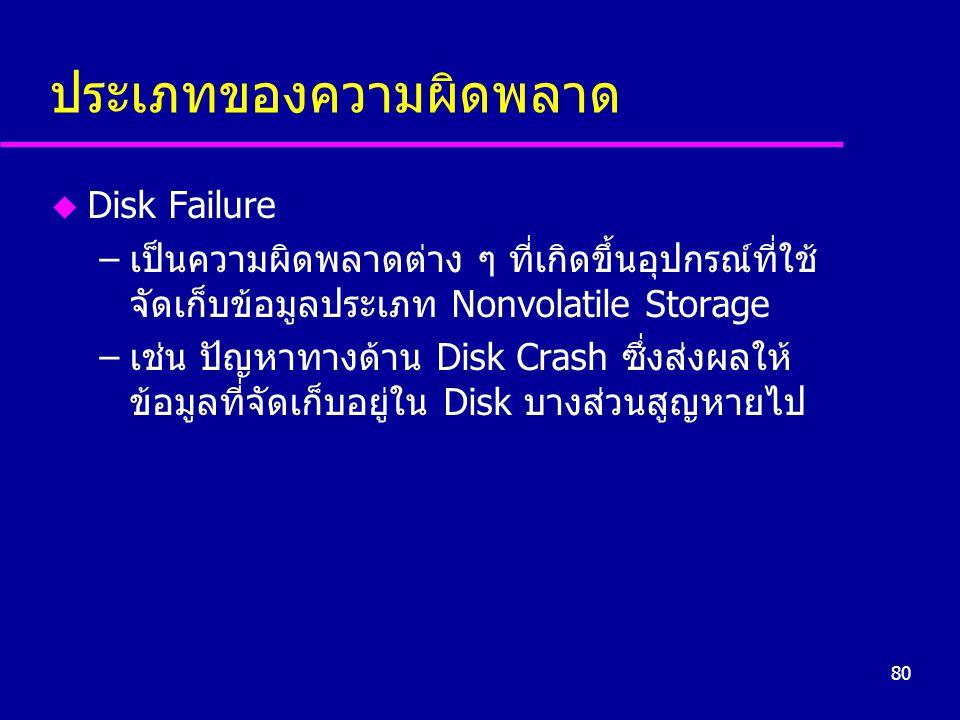 80 ประเภทของความผิดพลาด u Disk Failure –เป็นความผิดพลาดต่าง ๆ ที่เกิดขึ้นอุปกรณ์ที่ใช้ จัดเก็บข้อมูลประเภท Nonvolatile Storage –เช่น ปัญหาทางด้าน Disk