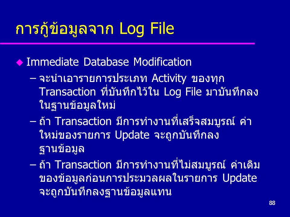 88 การกู้ข้อมูลจาก Log File u Immediate Database Modification –จะนำเอารายการประเภท Activity ของทุก Transaction ที่บันทึกไว้ใน Log File มาบันทึกลง ในฐา