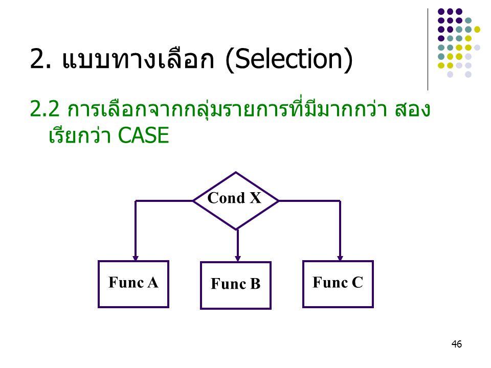 46 2. แบบทางเลือก (Selection) 2.2 การเลือกจากกลุ่มรายการที่มีมากกว่า สอง เรียกว่า CASE Func CFunc A Cond X Func B