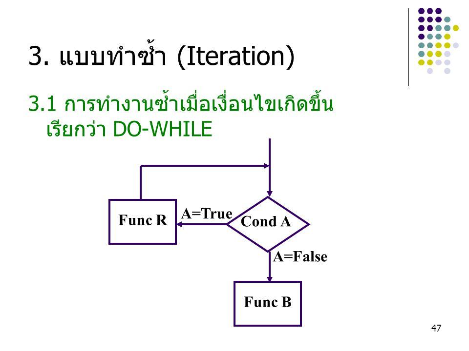 47 3. แบบทำซ้ำ (Iteration) 3.1 การทำงานซ้ำเมื่อเงื่อนไขเกิดขึ้น เรียกว่า DO-WHILE Func R Func B Cond A A=False A=True