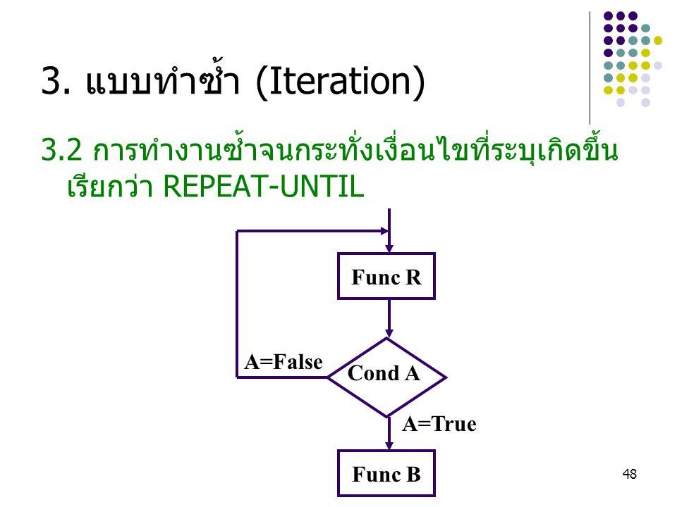 48 3. แบบทำซ้ำ (Iteration) 3.2 การทำงานซ้ำจนกระทั่งเงื่อนไขที่ระบุเกิดขึ้น เรียกว่า REPEAT-UNTIL Func B Cond A A=False A=True Func R