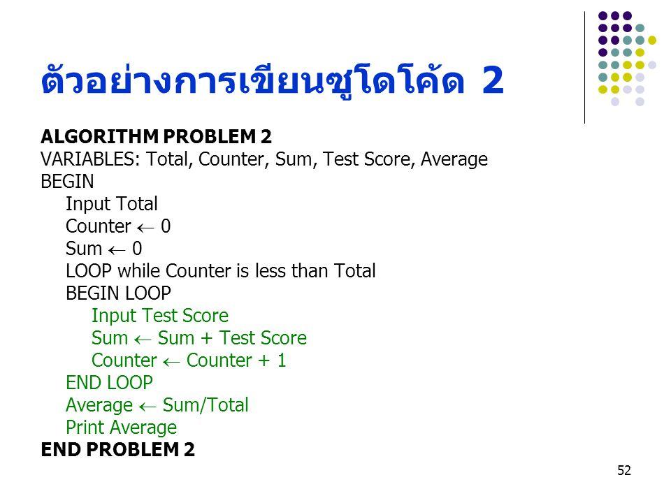 52 ตัวอย่างการเขียนซูโดโค้ด 2 ALGORITHM PROBLEM 2 VARIABLES: Total, Counter, Sum, Test Score, Average BEGIN Input Total Counter  0 Sum  0 LOOP while