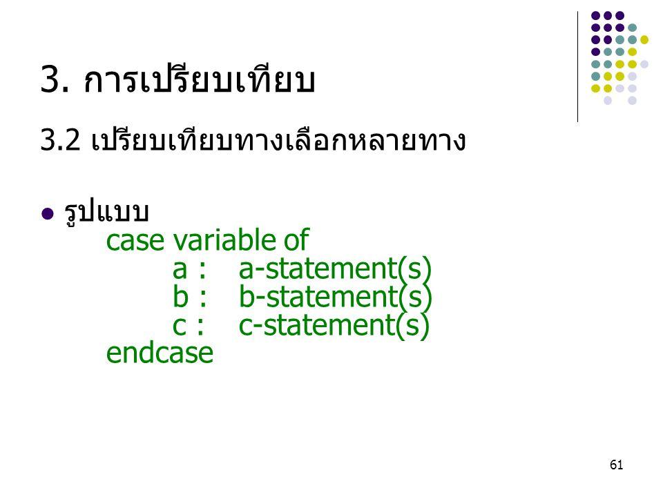 61 3. การเปรียบเทียบ 3.2 เปรียบเทียบทางเลือกหลายทาง รูปแบบ case variable of a :a-statement(s) b :b-statement(s) c :c-statement(s) endcase