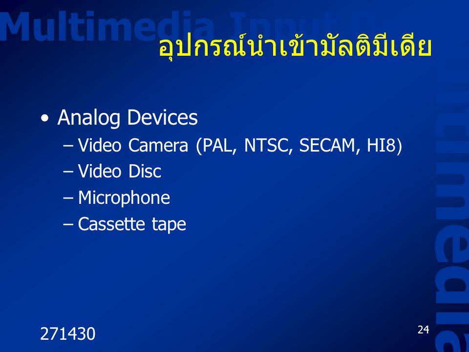 271430 24 Multimedia Input Device Multimedia อุปกรณ์นำเข้ามัลติมีเดีย Analog Devices –Video Camera (PAL, NTSC, SECAM, HI8) –Video Disc –Microphone –Ca