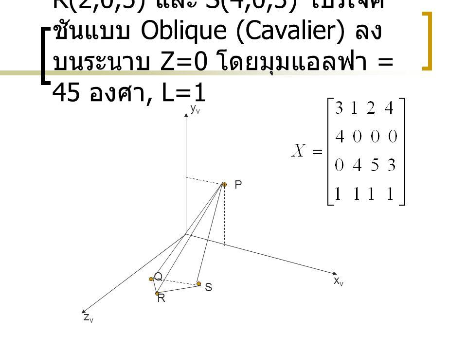 Ex วัตถุ P(3,4,0), Q(1,0,4), R(2,0,5) และ S(4,0,3) โปรเจ็ค ชันแบบ Oblique (Cavalier) ลง บนระนาบ Z=0 โดยมุมแอลฟา = 45 องศา, L=1 zvzv xvxv yvyv P Q R S