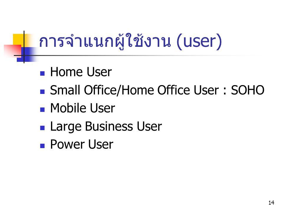 14 Home User Small Office/Home Office User : SOHO Mobile User Large Business User Power User การจำแนกผู้ใช้งาน (user)
