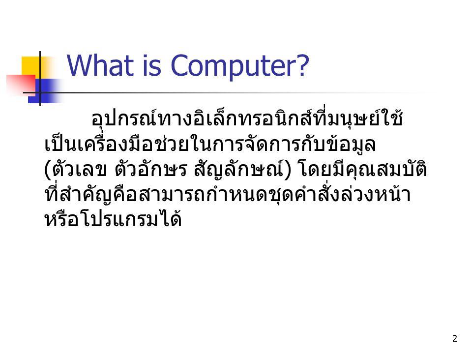2 What is Computer? อุปกรณ์ทางอิเล็กทรอนิกส์ที่มนุษย์ใช้ เป็นเครื่องมือช่วยในการจัดการกับข้อมูล (ตัวเลข ตัวอักษร สัญลักษณ์) โดยมีคุณสมบัติ ที่สำคัญคือ
