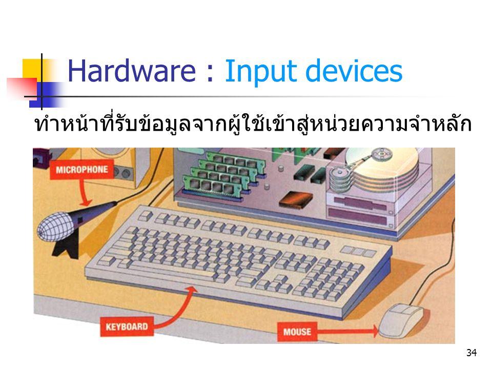 34 ทำหน้าที่รับข้อมูลจากผู้ใช้เข้าสู่หน่วยความจำหลัก Hardware : Input devices