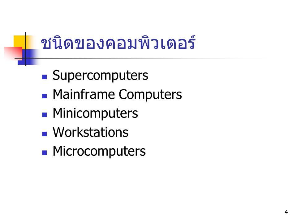5 Supercomputer ขนาดใหญ่ที่สุด, ทำงานรวดเร็ว, ประสิทธิภาพสูง, ราคาแพง ใช้ในงานที่มีการคำนวณที่ซับซ้อน เช่น การ วิจัยทางด้านวิทยาศาสตร์และวิศวกรรม การ พยากรณ์อากาศ การบิน ฯลฯ มีความรวดเร็วในการคำนวณได้มากกว่า 1 ล้านล้านครั้งต่อวินาที (1 Trillion calculations per second)