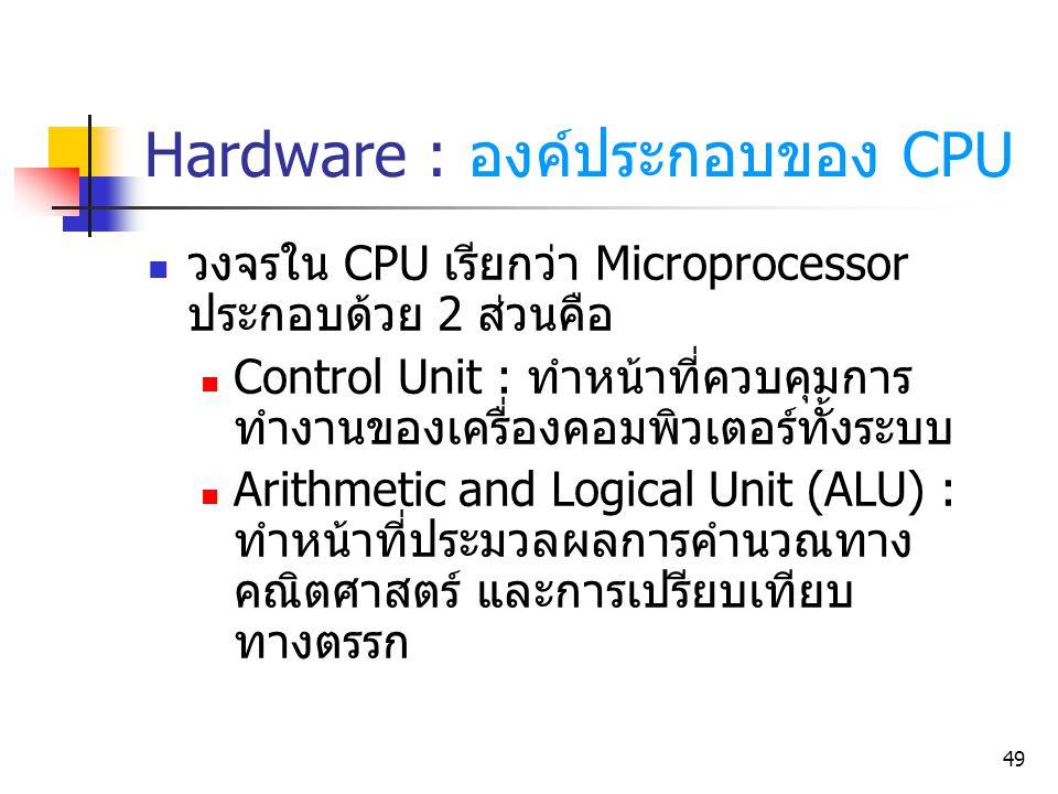 49 Hardware : องค์ประกอบของ CPU วงจรใน CPU เรียกว่า Microprocessor ประกอบด้วย 2 ส่วนคือ Control Unit : ทำหน้าที่ควบคุมการ ทำงานของเครื่องคอมพิวเตอร์ทั