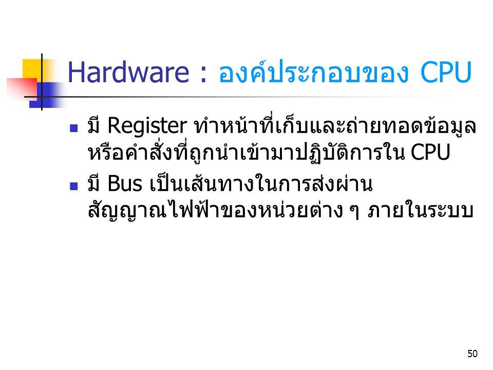 50 Hardware : องค์ประกอบของ CPU มี Register ทำหน้าที่เก็บและถ่ายทอดข้อมูล หรือคำสั่งที่ถูกนำเข้ามาปฏิบัติการใน CPU มี Bus เป็นเส้นทางในการส่งผ่าน สัญญ