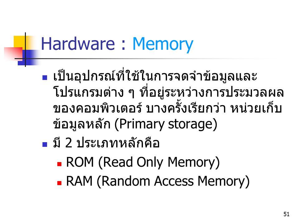 51 Hardware : Memory เป็นอุปกรณ์ที่ใช้ในการจดจำข้อมูลและ โปรแกรมต่าง ๆ ที่อยู่ระหว่างการประมวลผล ของคอมพิวเตอร์ บางครั้งเรียกว่า หน่วยเก็บ ข้อมูลหลัก