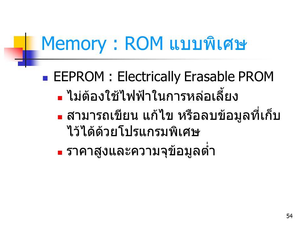 54 Memory : ROM แบบพิเศษ EEPROM : Electrically Erasable PROM ไม่ต้องใช้ไฟฟ้าในการหล่อเลี้ยง สามารถเขียน แก้ไข หรือลบข้อมูลที่เก็บ ไว้ได้ด้วยโปรแกรมพิเ